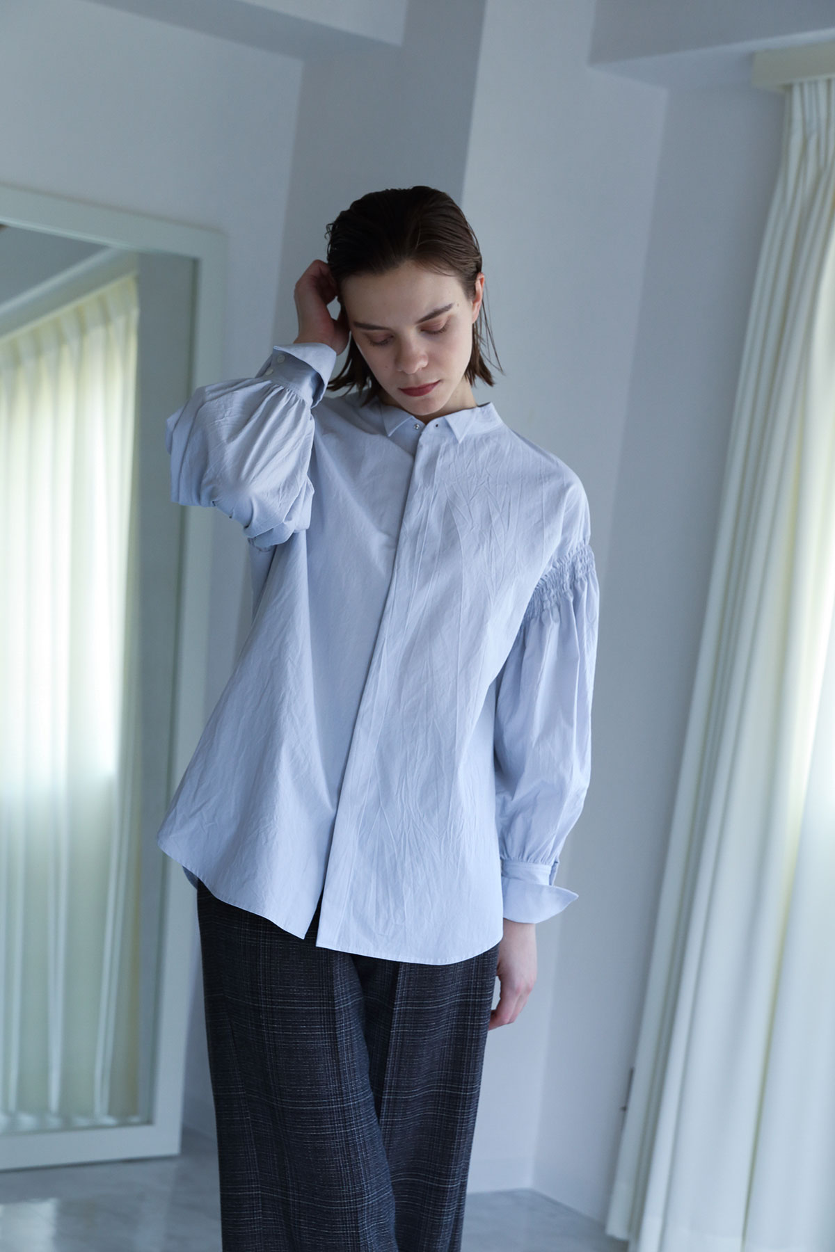 BO204613-lgray Salt Shrinkage Dairy/Dinner Taxido Shirts -L GRAY-【BO204613】