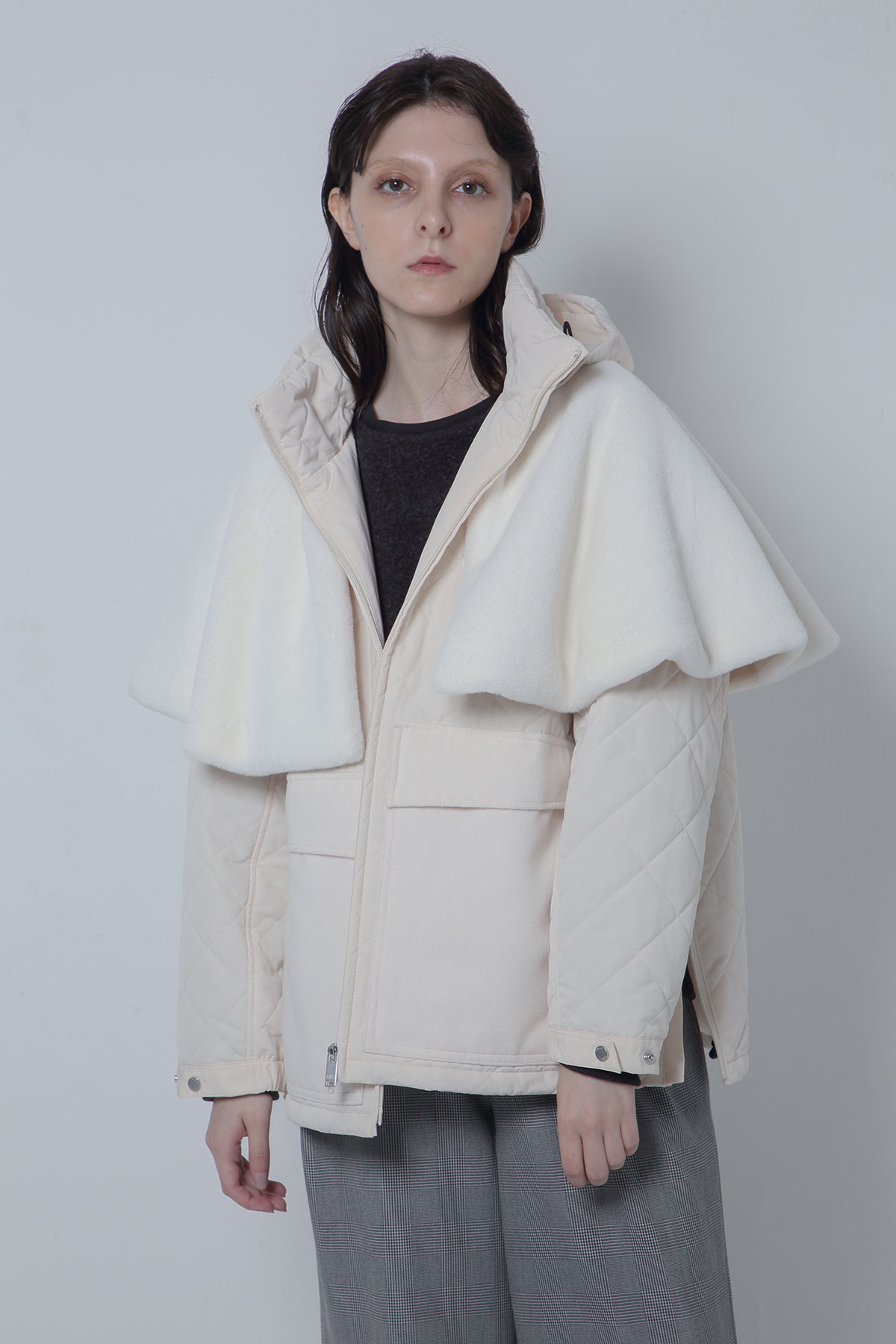 BO205109-white Sastainable Fur×Padded Weather Connect snorkelJacket -WHITE-【BO205109】Del.Oct.