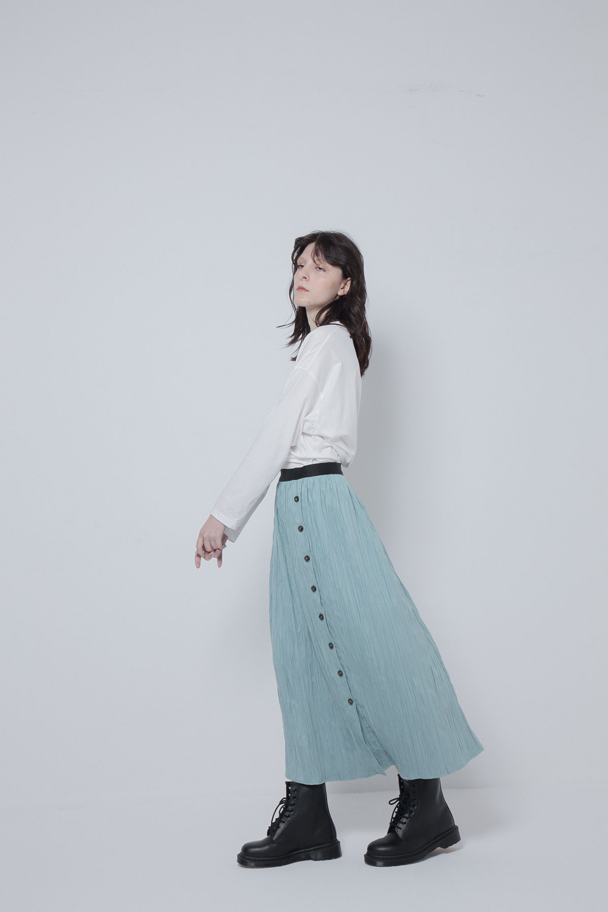 BO205402-mint Sustainable Wrinkle Suede Roma Skirt-MINT-【BO205402】Del. Oct.