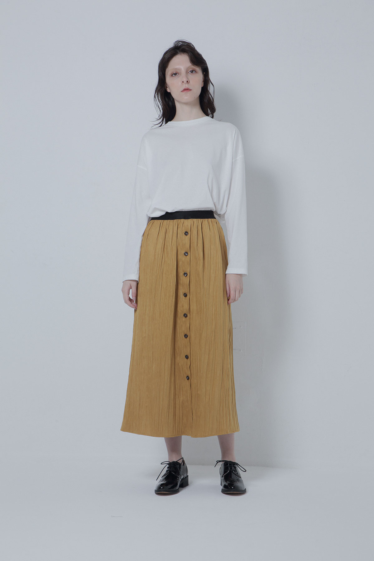 BO205402-yellow Sustainable Wrinkle Suede Roma Skirt -YELLOW-【BO205402】Del. Oct.
