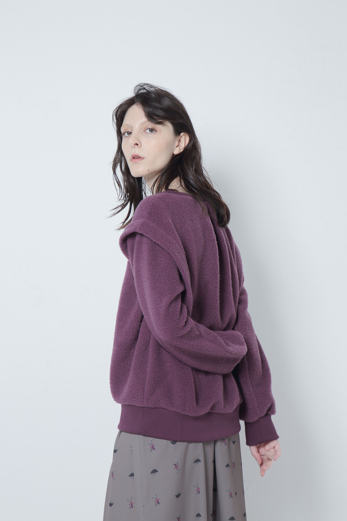 BO205705-purple Antique Blanket Pile Dirndl PullOver -PURPLE-【BO205705】Del. Oct.