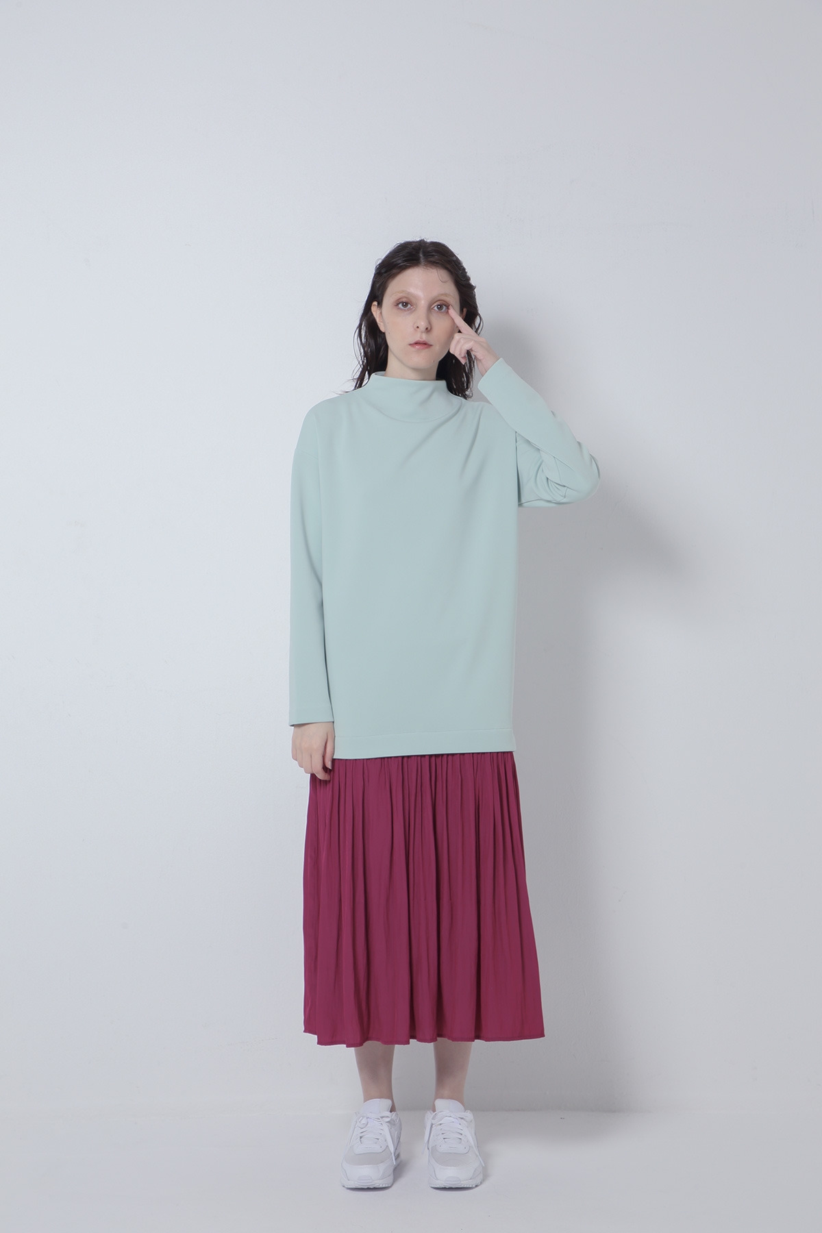 BO205708-lightgreen Aqua Suits Fabric×Ordinary de Chine Connect Dress-LIGHT GREEN-【BO205708】Del. Nov.
