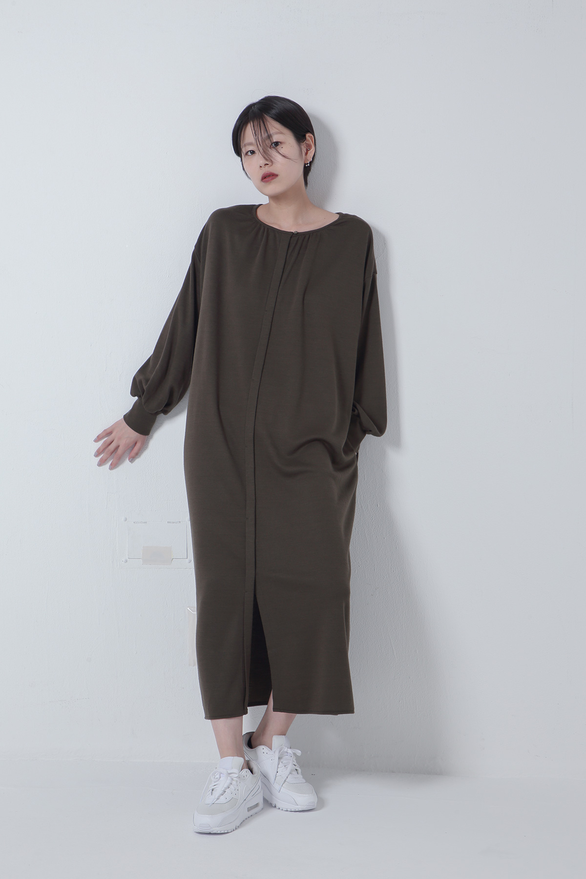 BO205720-khakj Thermos Light Ponte Park shirts Dress -KHAKI-【BO205720】Del.Oct.