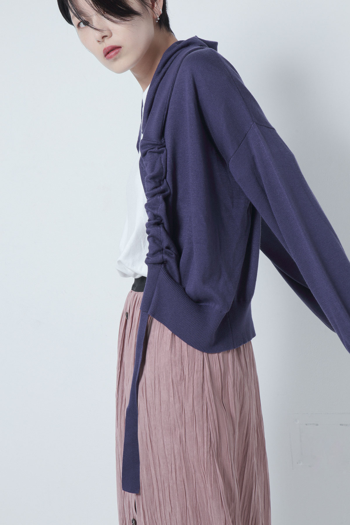 BO205806-bluepurple Allday Cotton/silk Knit Cucullus Hoodie Draped Cardigan -BLUE PURPLE-【BO205806】Del. Nov.