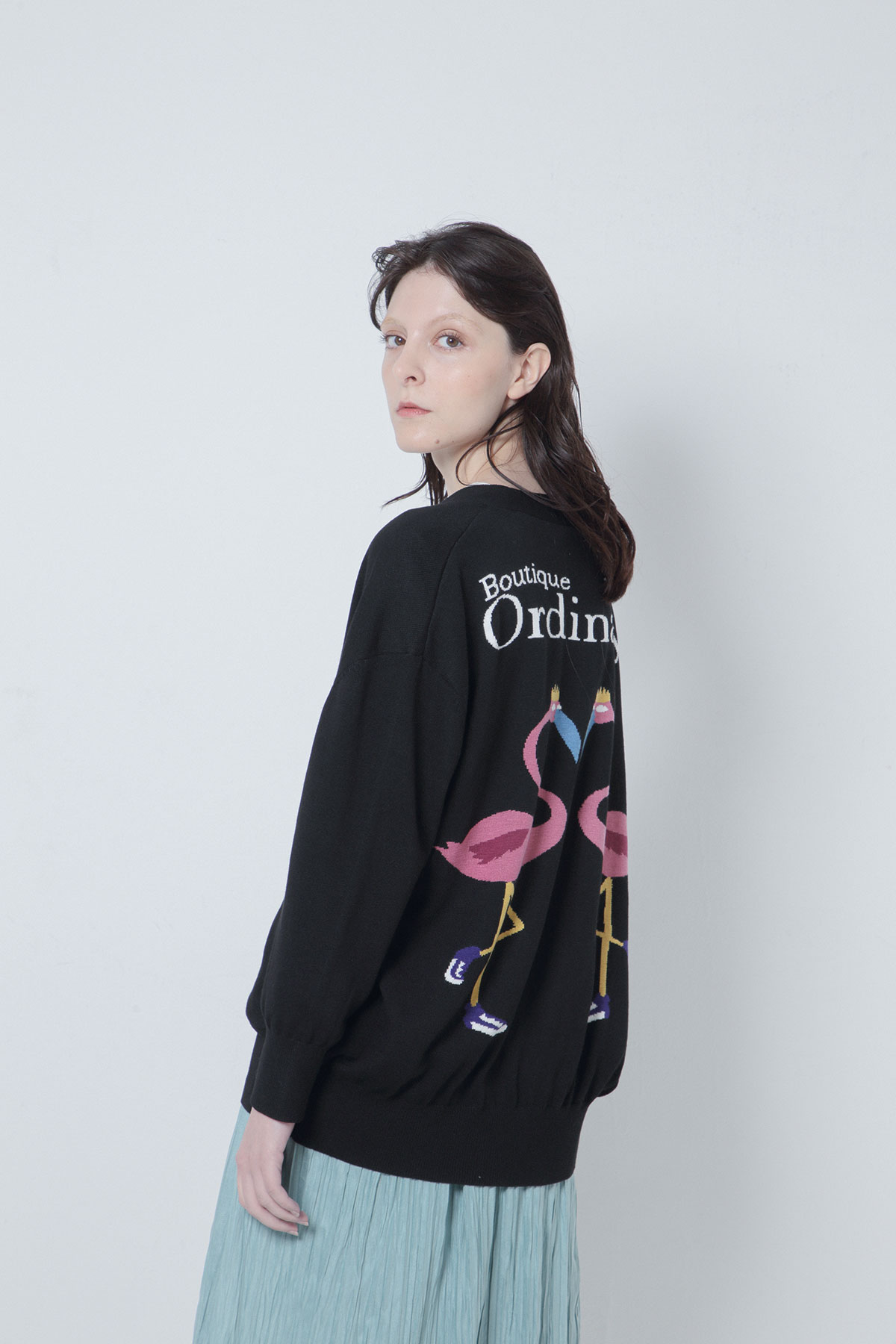 BO205825 Ordinary Meets Mulga the artist Intarsia knit Collar-less Cardigan  -BLACK-【BO205825】Del.Oct.