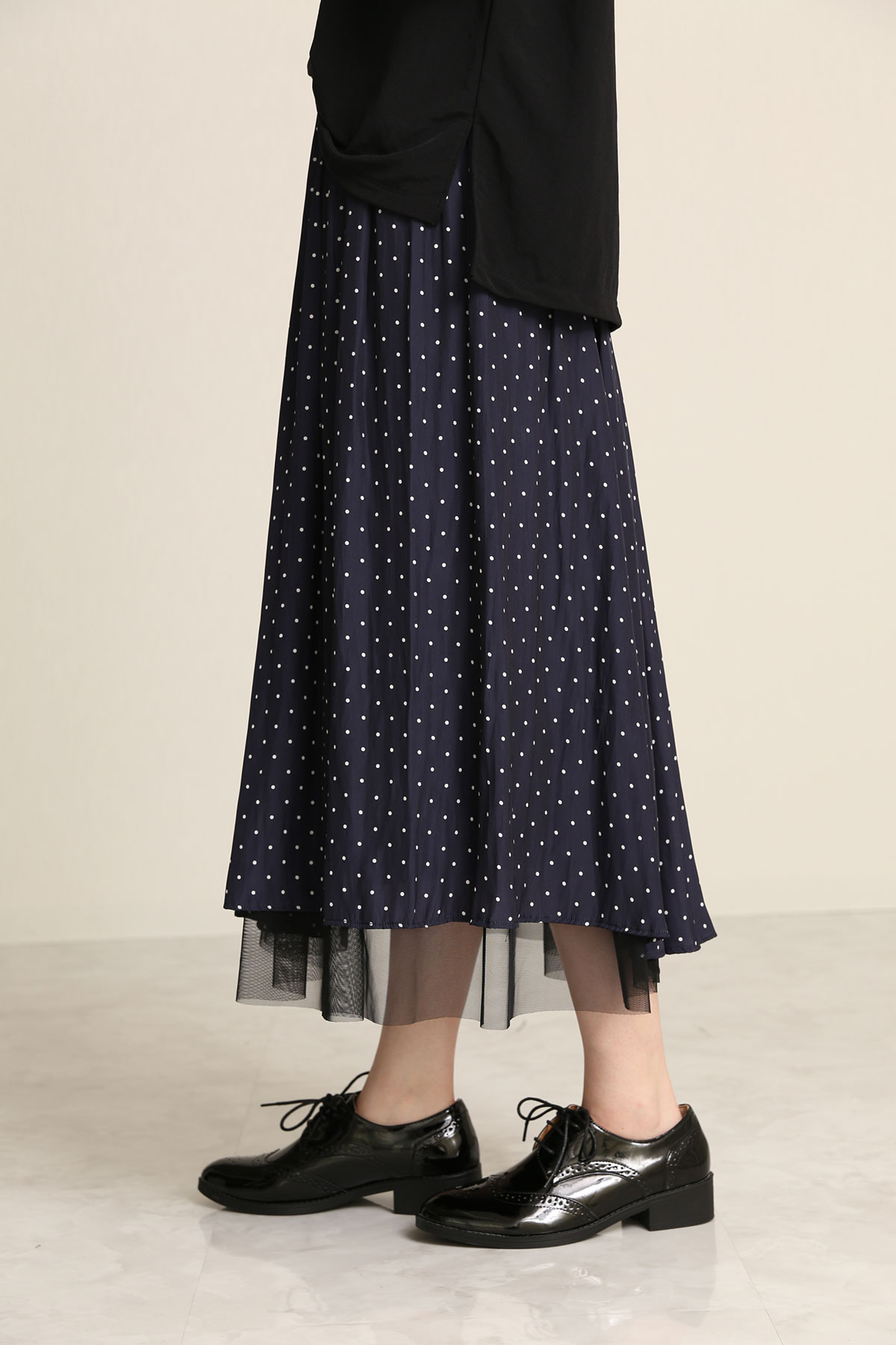 BO21-112K-navydot Polkadot Ordinary de Chine Dairy/Dinner Skirt -NAVY DOT-【BO21-112K】Del.Aug.