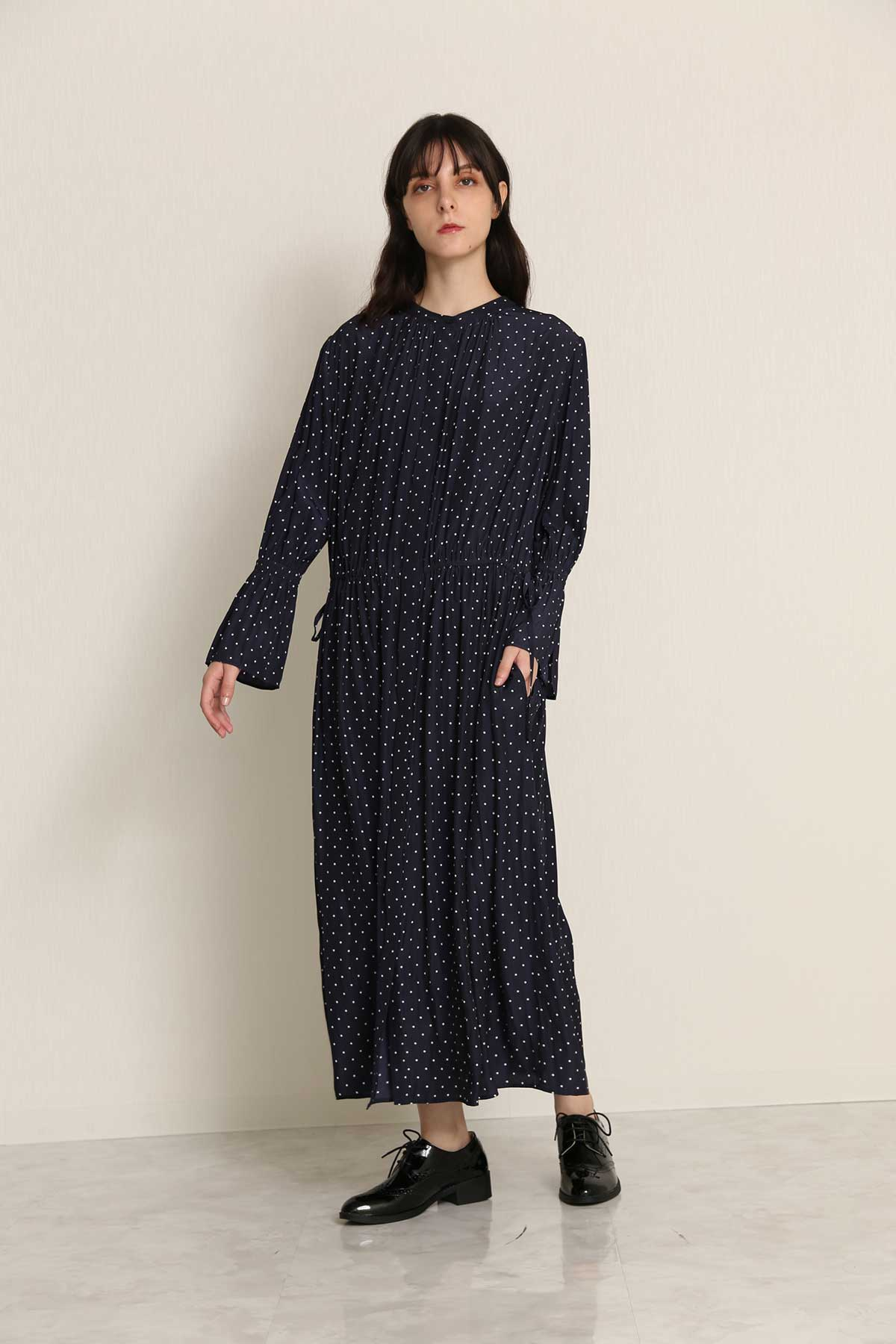 BO21-114D-navydot Polkadot Ordinary de Chine Toga dress-NAVY DOT-【BO21-114D】Del.Aug.