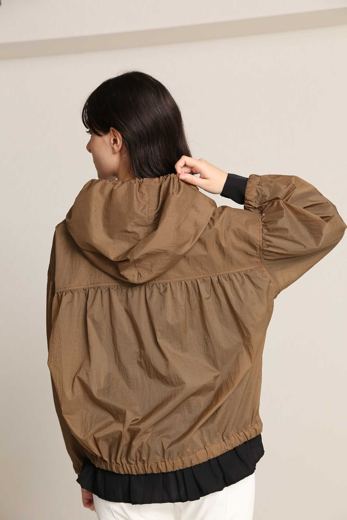 BO21-121J-camel Through Nylon Draped Motorcycle Jacket-CAMEL-【BO21-121J】Del.Feb.