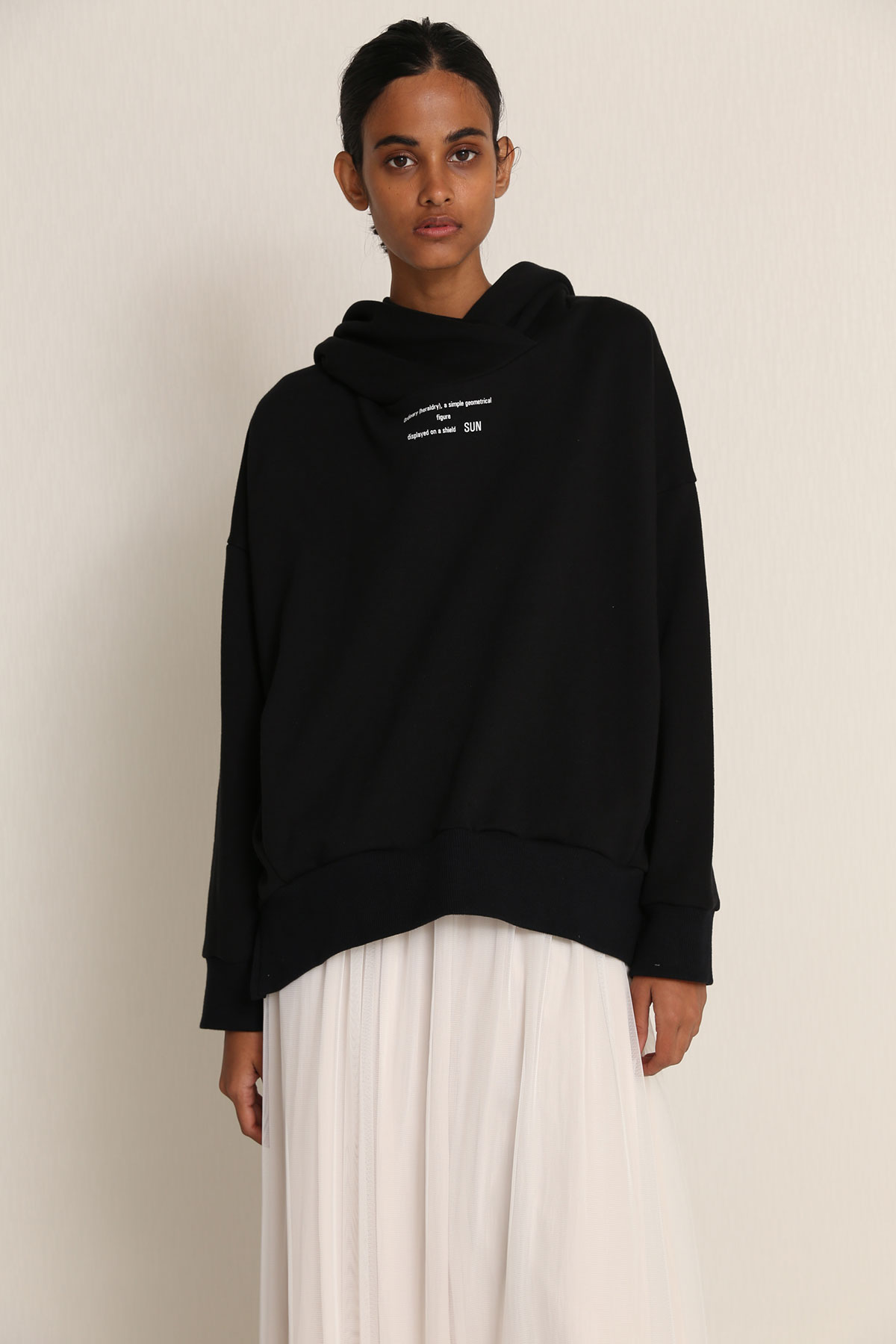 BO21-133T-black Typographic Sweat Drape Hoodie-BLACK-【BO21-133T】Del.Dec.