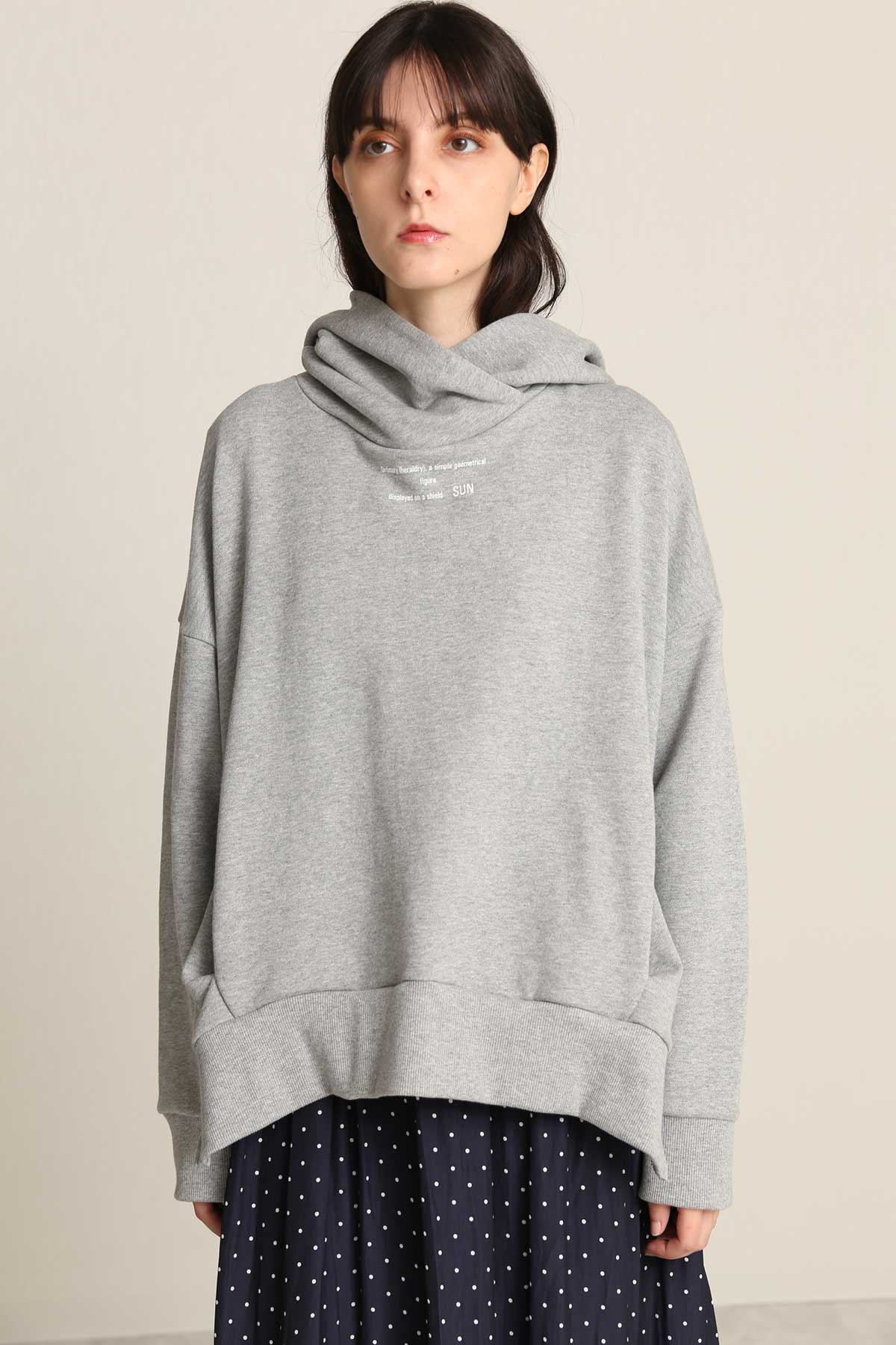BO21-133T-gray Typographic Sweat Drape Hoodie-GRAY-【BO21-133T】Del.Dec.